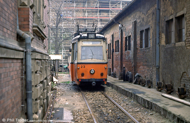 Naumburg Gotha car 23 dating from 1956, at the depot at Postrasse on 8th April 1991.
