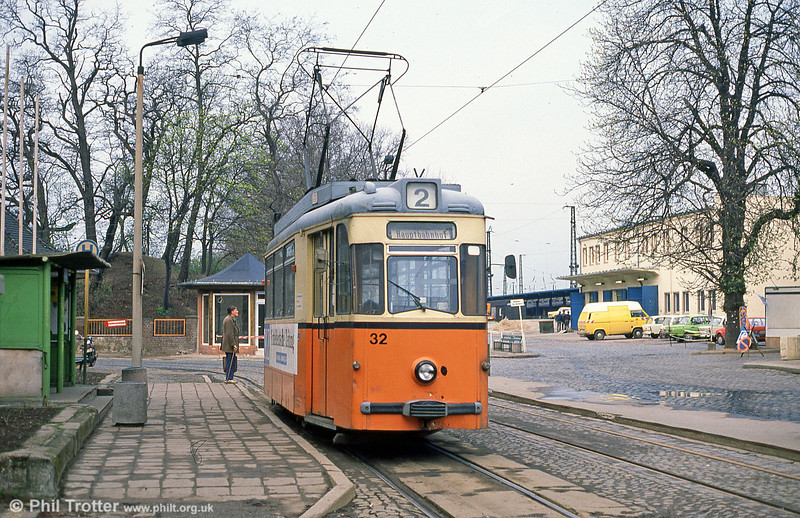 Naumburg car 32 dating from 1960 at the Hauptbahnhof on 8th April 1991.