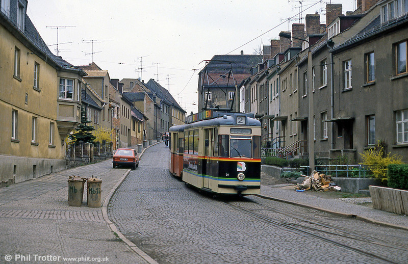 Naumburg car 31 dating from 1960 in the now closed section at Moritzberg on 8th April 1991.