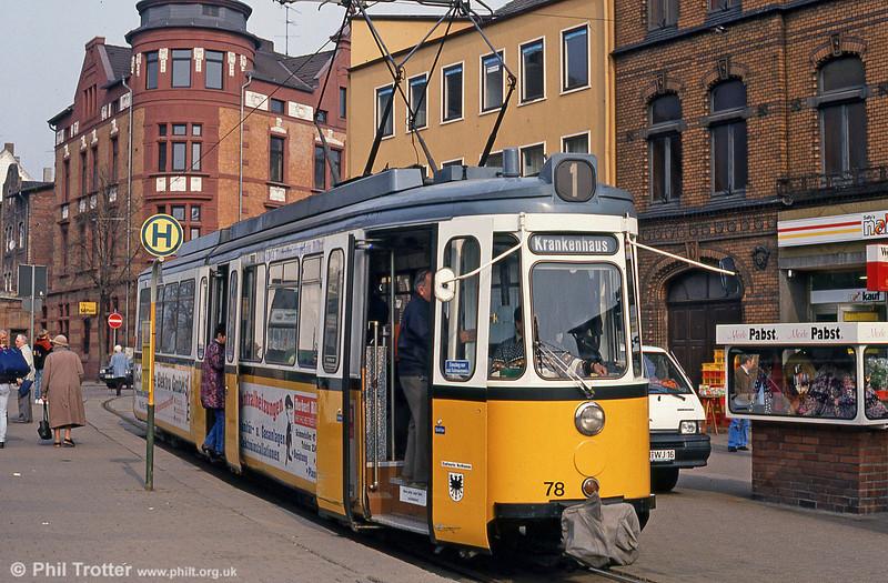Nordhausen ex-Stuttgart 78 at the Hauptbahnhof on 13th April 1993.