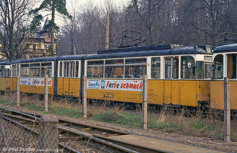 Gotha car 54 (ex-Erfurt) of 1963 stored in a compound at Nordhausen Parkallee on 13th April 1993. This car was in fact slightly newer than several of the ex-Stuttgart GT4 cars which replaced it!