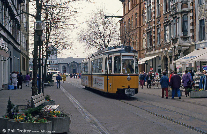 Nordhausen ex-Stuttgart 80 in Bahnhofstrasse on 13th April 1993.