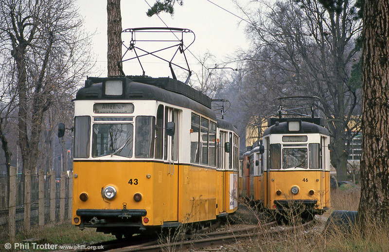 Too late! Recently withdrawn Gotha cars stored in a compound at Nordhausen Parkallee on 13th April 1993.
