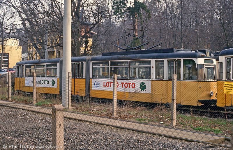 Gotha car 51 (ex-Erfurt) of 1962 stored in a compound at Nordhausen Parkallee on 13th April 1993.