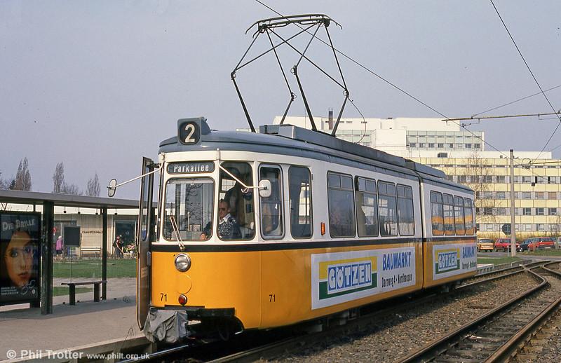 Nordhausen ex-Stuttgart (527) GT4 car 71 at the Krankenhaus on 13th April 1993.