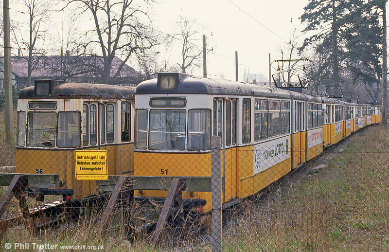 A general view of the withdrawn Nordhausen Gotha cars stored in a compound at Nordhausen Parkallee on 13th April 1993.