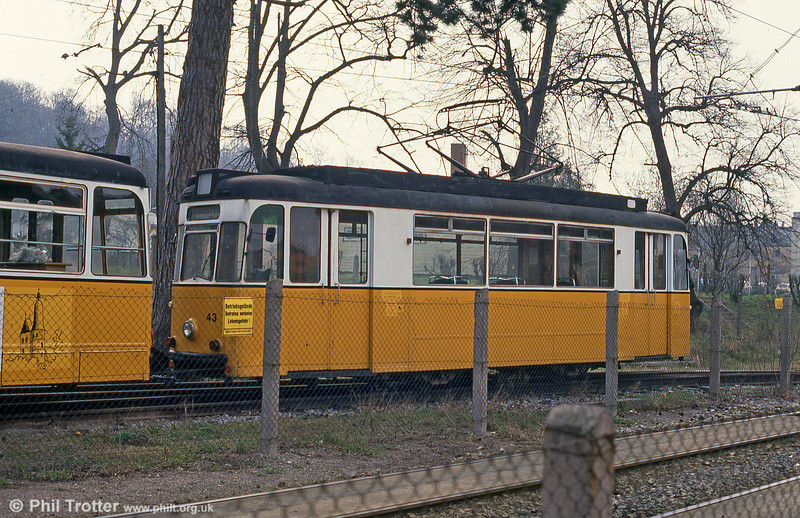 Gotha car 43 (ex-Gera) of 1958 stored in a compound at Nordhausen Parkallee on 13th April 1993.