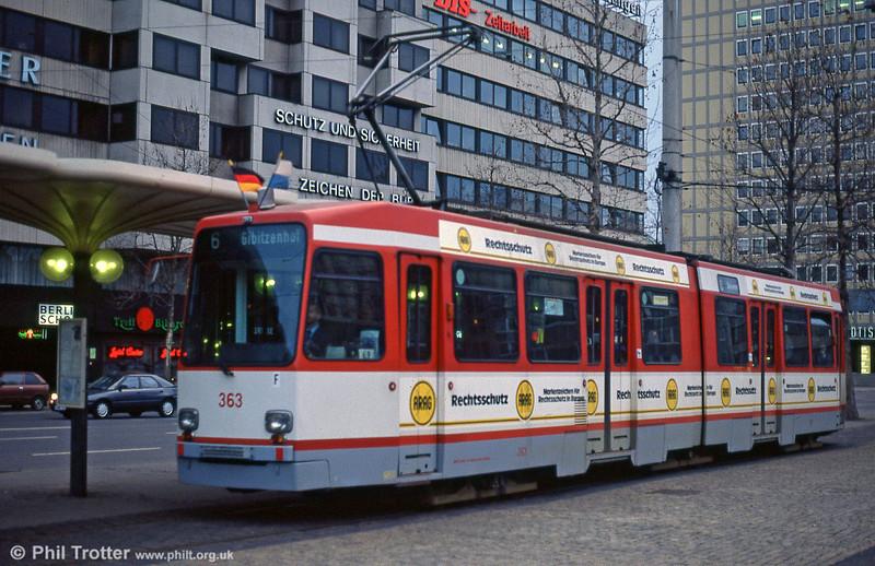 Nürnberg Stadtbahn-N car 363 at Plarrer on 4th April 1991.