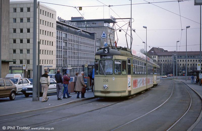 Nürnberg 336 at Rathenauplatz on 4th April 1991.
