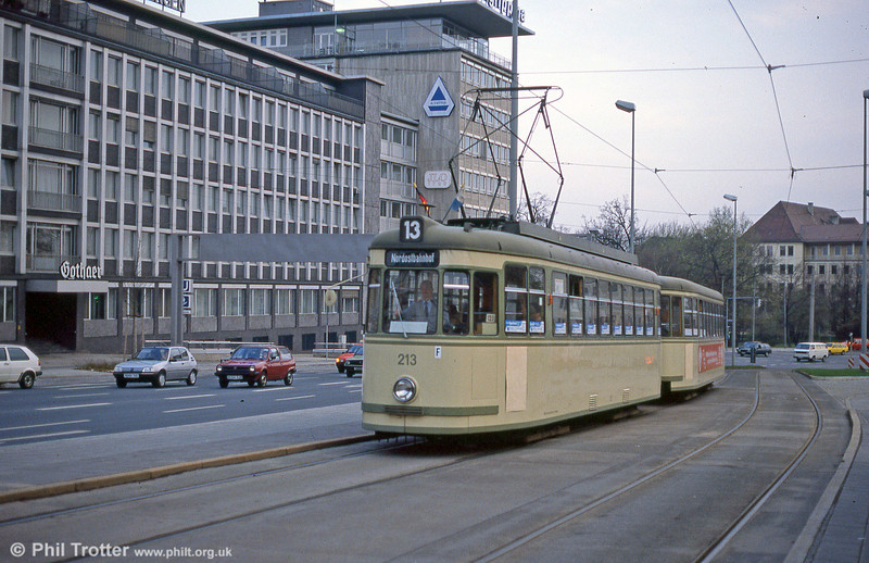 One of the oldest cars in the fleet at the time, Nürnberg 213 of 1958 at Rathenauplatz on 4th April 1991.