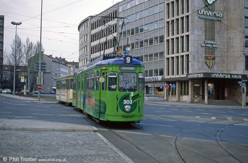 Nürnberg 303 at Rathenauplatz on 4th April 1991.