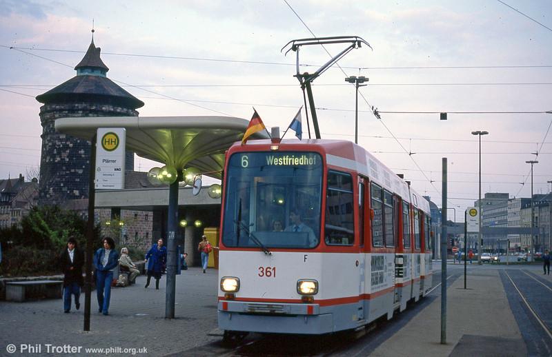 Nürnberg Stadtbahn-N car 361 at Plarrer on 4th April 1991.