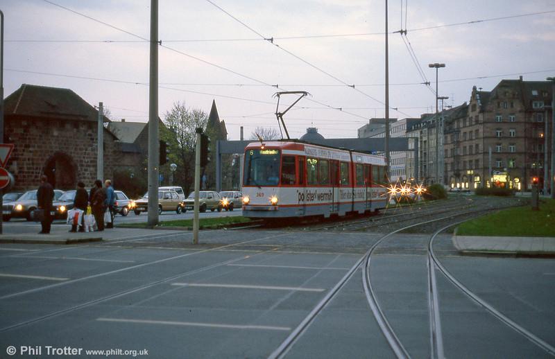 Nürnberg Stadtbahn-N car 369 at Plarrer on 4th April 1991.