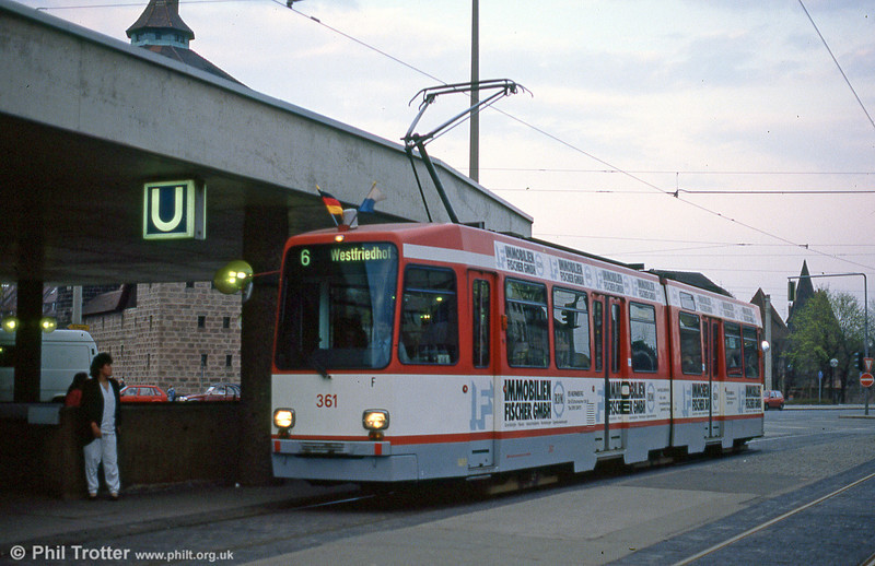 Nürnberg Stadtbahn-N car 361 at Plarrer on 4th April 1991.