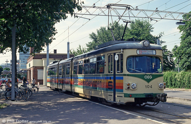 OEG car 104 at Mannheim Kurpfalzbrucke on 1st August 1993.