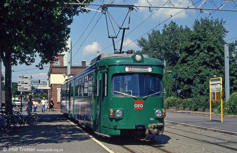 OEG car 96 at Mannheim Kurpfalzbrucke on 1st August 1993.