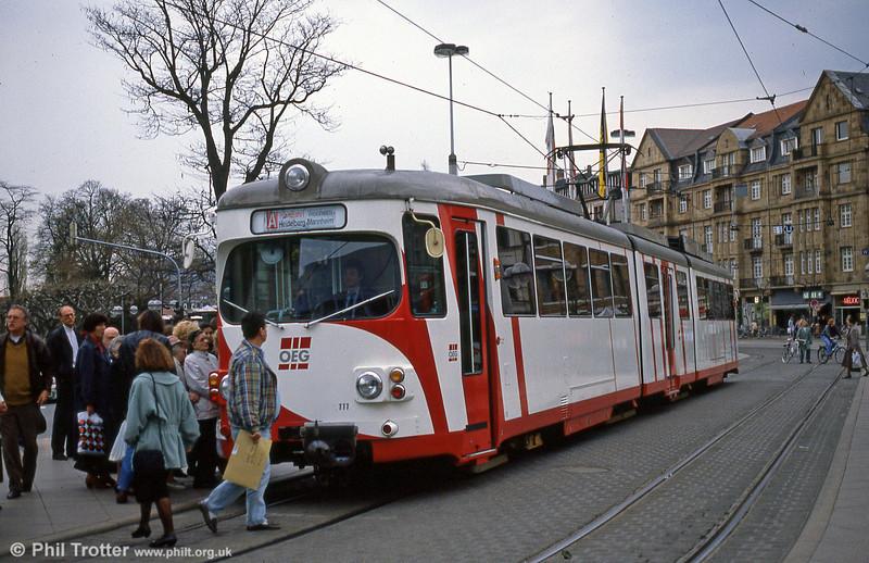 OEG 111 on the long interurban route between Mannheim and Weinheim at Heidelberg, Bismarckplatz on 1st August 1993.