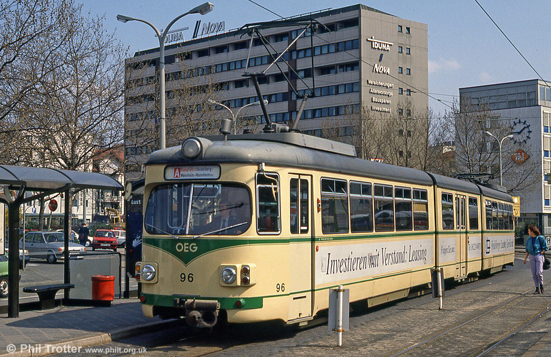 OEG car 96 at Mannheim Hauptbahnhof on 3rd April 1991.