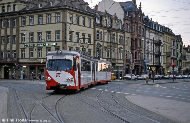 OEG 115 on the long interurban route between Mannheim and Weinheim at Heidelberg, Bismarckplatz on 1st August 1993.