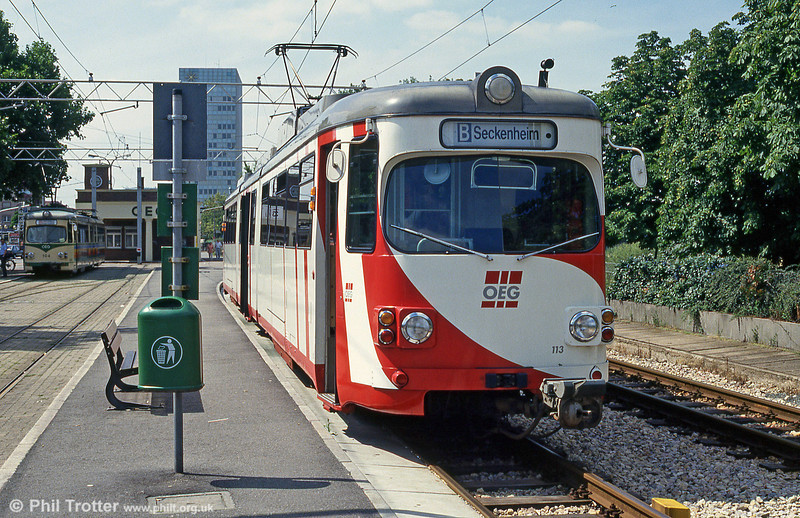 OEG car 113 at Mannheim Kurpfalzbrucke on 1st August 1993.