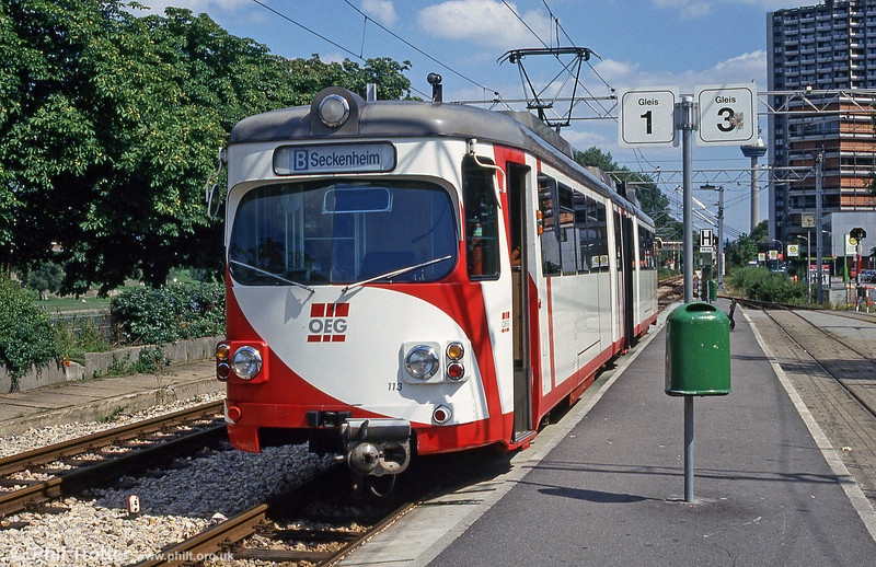 OEG car 113 at Mannheim Kurpfalzbrucke on 1st August 1993.