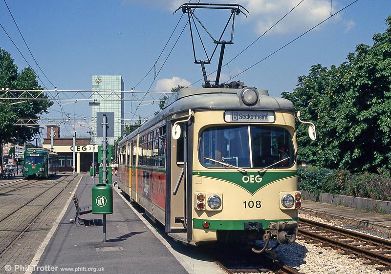 OEG car 108 at Mannheim Kurpfalzbrucke on 1st August 1993.