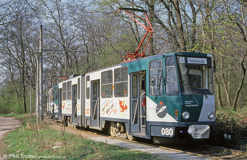 Potsdam 080, a former Berlin Tatra KT4D at Kapellenberg on 11th April 1991. (First published in Modern Tramway, 9/91).