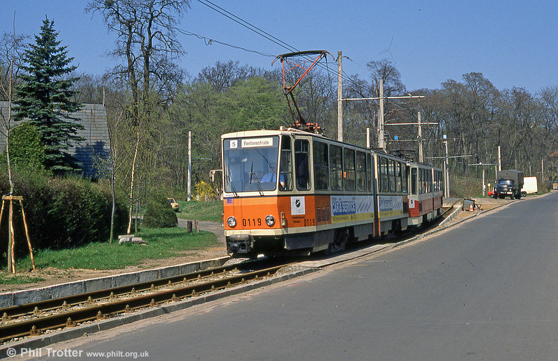 Tatra KT4D no. 0119 at Kappellenburg terminus.