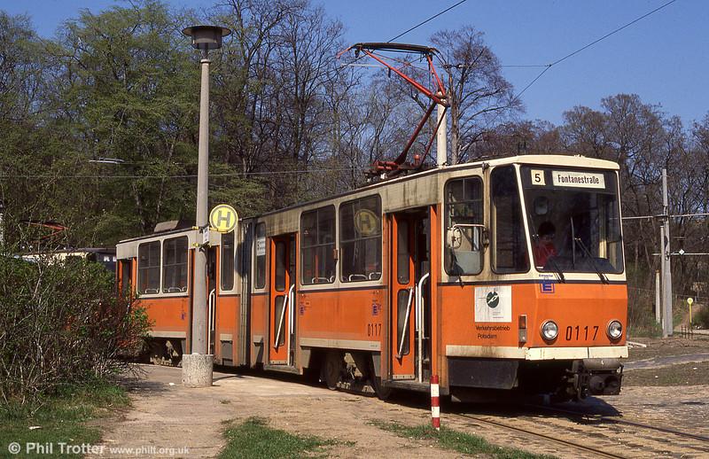 Tatra KT4D no. 0117 at Kappellenburg terminus.
