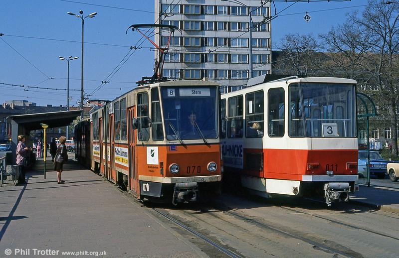 Potsdam Tatra KT4D no. 070 at Platz der Einheit