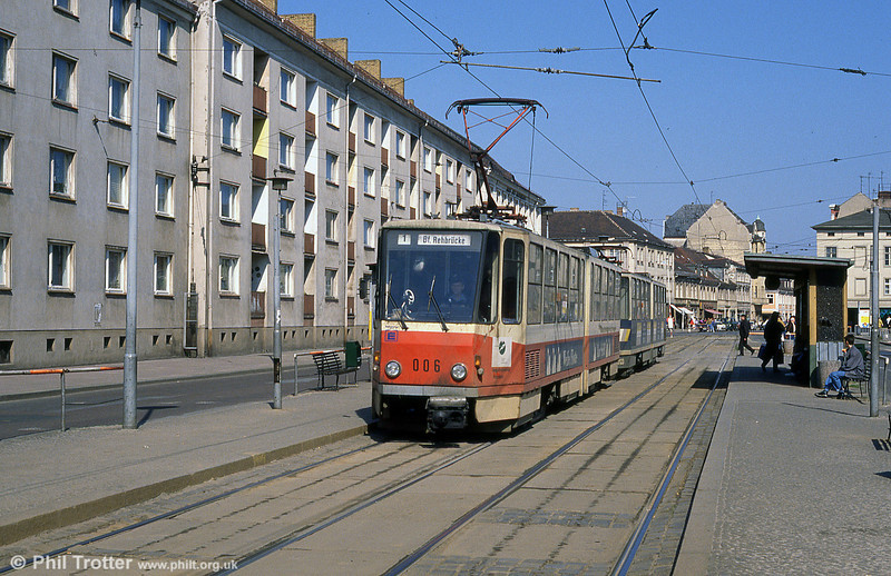 Potsdam Tatra KT4D no. 006 of 1977 at Platz der Einheit.