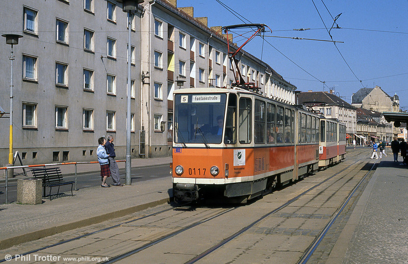 Potsdam Tatra KT4D no. 0117 at Platz der Einheit