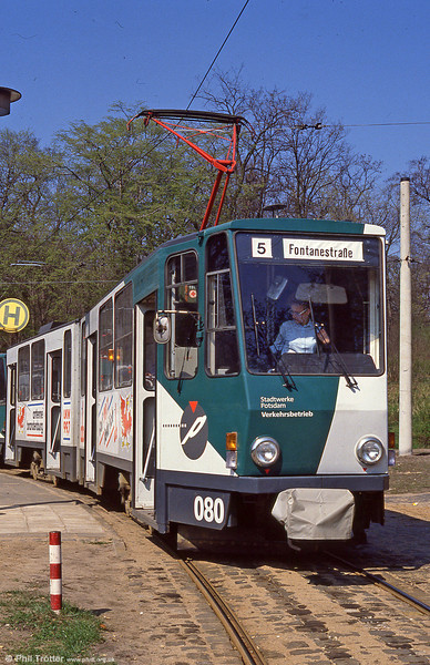 Potsdam 080, a former Berlin Tatra KT4D at Kapellenberg on 11th April 1991.