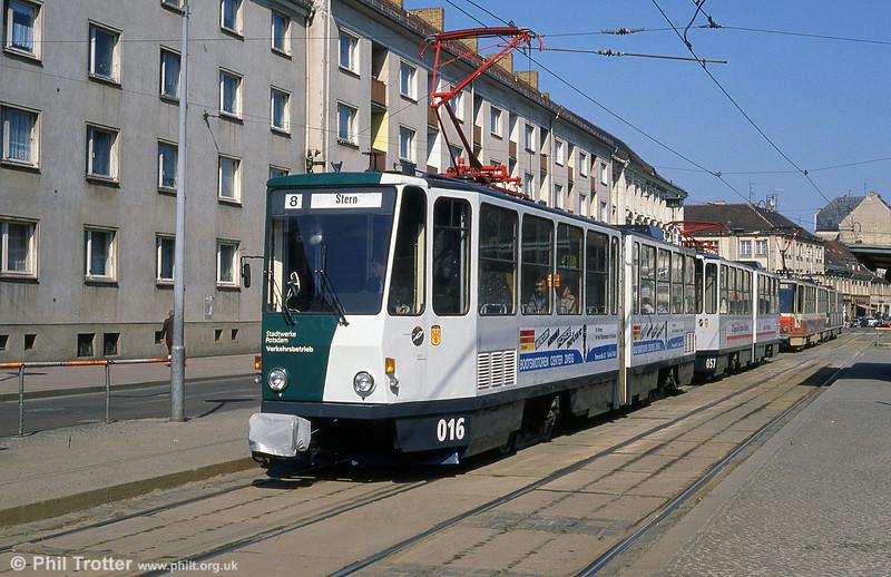 Potsdam Tatra KT4D no. 016 in the new livery at Platz der Einheit.