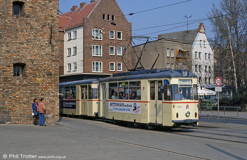 Rostock Gotha car 787, formerly with Karl-Marx-Stadt (Chemnitz) at Steintor on 14th April 1993.