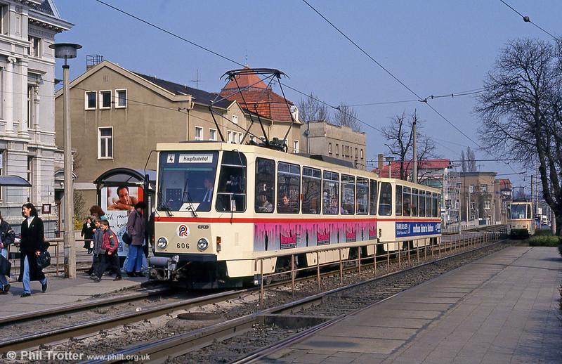 Tatra T6A2 car 606 at Steintor on 14th April 1993.