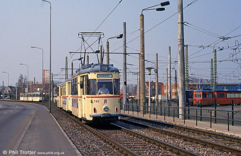 Gotha car 785 (ex- Karl Marx Stadt) at Hamburger Strasse on 14th April 1993.