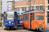 Gotha works car 556 of 1955 alongside Tatra T6A2 602at the depot, Hamburger Strasse  on 14th April 1993.