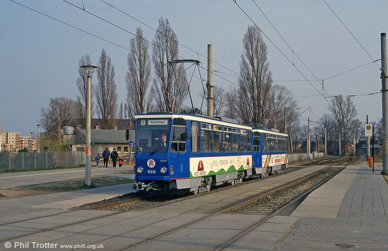 Tatra T6A2 609 at Dierkow on 14th April 1993.