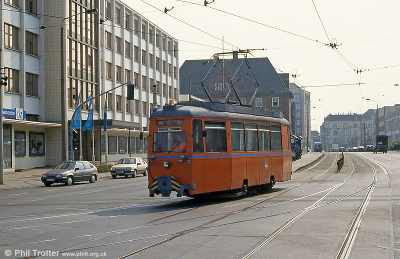 Rostock's Werdau works car 553 of 1953 at Steintor on 14th April 1993.