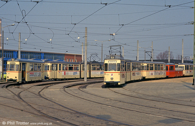 A view of the depot yard at Hamburger Strasse on 14th April 1993.