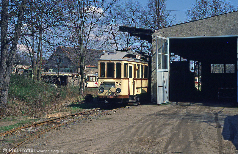 Museum car 34 of 1928, built by Linder and seen at Schoneiche depot on 10th April 1991.