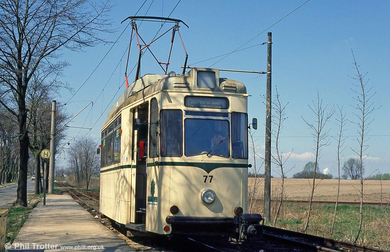 Schoneiche 77 (ex-Cottbus) at Schoeneicher Landstrasse on 10th April 1991.