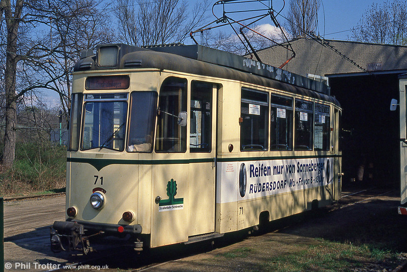 Car 71 seen at Schoneiche depot on 10th April 1991.