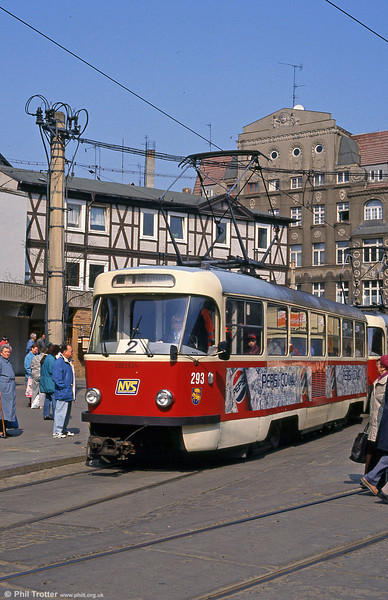 Tatra T3D 293 at Marienplatz on 15th April 1993.