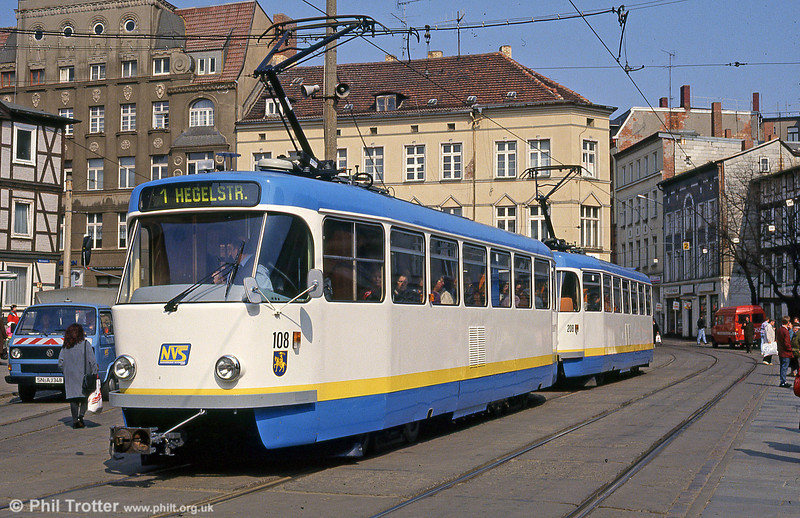 Schwerin 108 in its new livery at Marienplatz on 15th April 1993. (First published in Light Rail & Modern Tramway, 8/93).