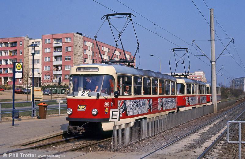 Tatra T3D 293 at Hegelstrasse on 15th April 1993.