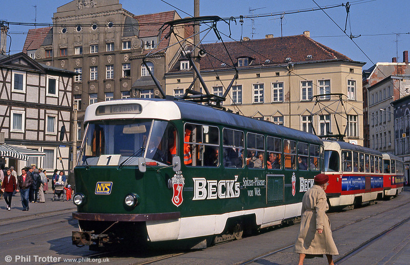 An unidentified Tatra T3D at Marienplatz on 15th April 1993.