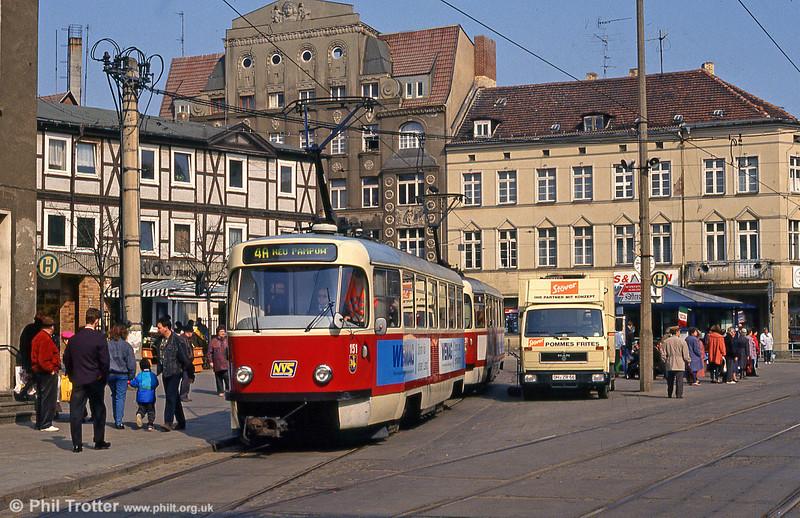 Tatra T3D 151 at Marienplatz on 15th April 1993.