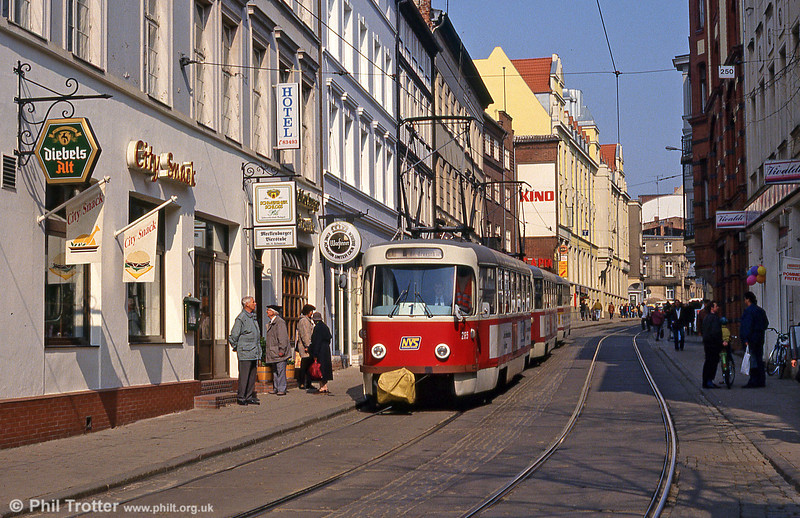 Tatra T3D 265 at Wismarsche Straße on 15th April 1993.